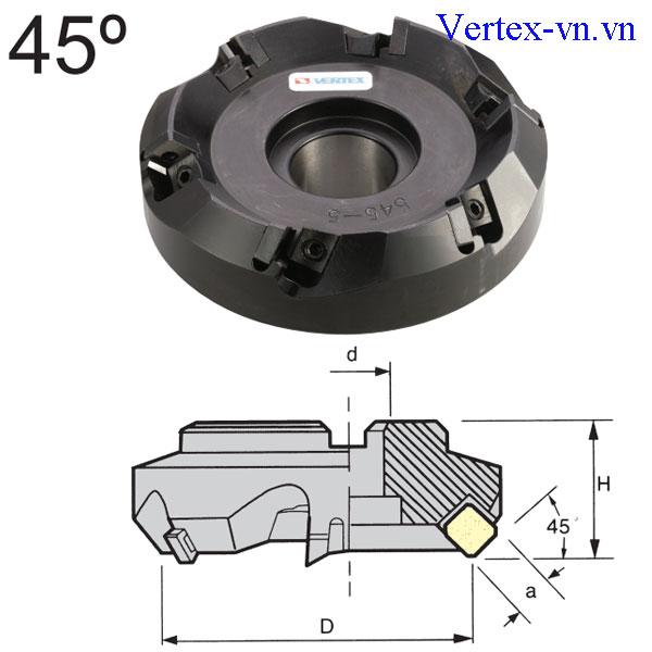 Đài dao phay khỏa mặt 45 độ của VERTEX